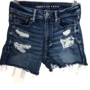 AEO | Hi-Rise Shortie | Distressed Medium Wash